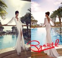 RBC 661 Sexy V Neck Backless Wedding Dress 2014 Hot Selling Mermaid Slit Bridal Gown Long Sleeve Beading Bride Dress