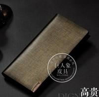 Men's leather gold business wallet long section money clip