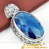 SALE 2014 new arrival Unique Vintage Style Jewelry Pendant Blue Topaz Silver Pendant For Men Fashion Party Pendants F073