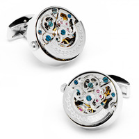Silver color Kinetic  Watch Movement Cufflinks 800984  men jewelry