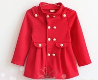 Free  shipping 2014 autumn new 5pcs/lot fashion baby children coat  girl double-breasted jacket for 3-7years kids in stock