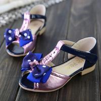 Children girls sandal shoes 2014 female kids child bow open toe sandal princess shoes free shipping