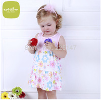 Free Shipping  Baby Dresses Girls Infant Cotton Clothing Sleeveless Dress Summer Clothes Printed +Embroidery Girl Kids Dress