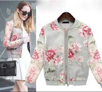 Summer 2014 Za Brand High Street Trend All-match Casual Ladies Jacket Print Flora Slim Transparent Organza Baseball Coat