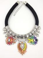 Free Shipping Fashion Leather shourouk rhinestone necklaces & pendants flower choker Necklace women jewelry  (buy 1 get 1 gift)
