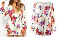 NEW 2014 summer Free shipping Fashion playsuit Jumpsuits long sleeve Beach Sexy Dress Tank Vest chiffon hollow lace women Dress