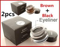 2pcs/lot 5g Waterproof Black+ Brown Color Eyeliner Gel Brand Makeup Liquid Eye Liner Free Shipping