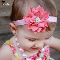 Headwear Free shipping (5pcs/Lot) Hot sale lovely fashion Shining diamond girls headbands with flowers JF0156