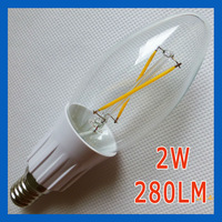 40x DHL/Fedex Free shipping 2W filament candle bulb lamp 220V E14 280LM warm white 2800K clear glass cover home decoration