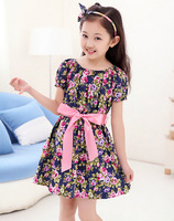 3color summer dress 2014 lovely flower bow princess for kids baby girl clothes tutu party dresses 1 2 3 4 5 6 7 8 years old girl
