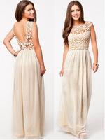 2014 Summer Winter Dresses hot Sale women's Sleeveless White Crochet Top Chiffon Sexy Halter Maxi Dress Party Long dress