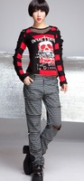 GLP2014 neutral black and white plaid Punk Punk straight casual pants zipper openwork decoration 71289