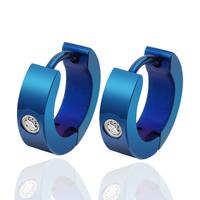 New fashion stainless steel blue earrings for women men unisex jewelry