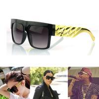 Metal Arm! New 2014 Kim Kardashian Beyonce Celebrities Style Flat Top Men Women Metal Gold Chain Twisted Riskier Sunglasses