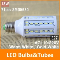 18W E27 71pcs SMD5630 360 degree LED Corn Bulb AC110 AC220V Warm White / White Energy Efficient led Light Lamp free shipping
