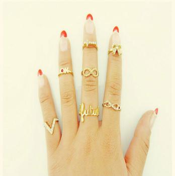 Мода kаstet кольцо украшения для женщин 7 шт. V ок бесконечность золото середина ...