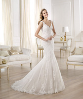 Tulle and mermaid wedding dress with appliques Scalloped  round armholes Bodice with appliques scallop wedding dress 2014
