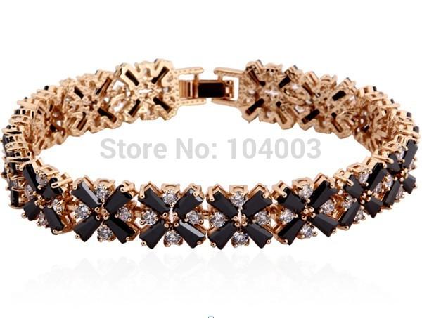 Women Fashion Jewelry Charm Bracelets 10KT Yellow Gold Filled Bracelet Sapphire Stone Free Shipping BR266-268(China (Mainland))