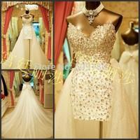 elegant sweetheart neckline crystal beaded customized floor length wedding gown design PX62610 detachable skirt wedding dress