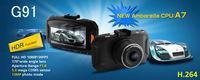 Car DVR styling 2.7 inch vehicle Camera Ambarella A7 HDR Aperture F1.8 night vision 5.0 Mega 1920 x 1080 Full HD 170 Degree G91