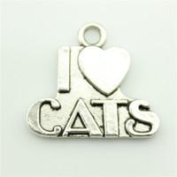 50pcs/lot 23*21mm 2 colors i love cats charm