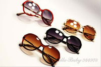 Free Shipping Hello Baby 344978 Metal Sculpture Convex Glass Leg Retro Sunglasses New Sunglasse