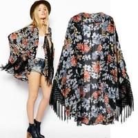 2014 New arrivals Ladies'  elegant Floral print Kimono with tassel loose vintage cape coat cardigan casual brand design tops