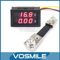 5pcs DC 4.5-30V 100A 2in1 LED Meters DC Volt Meters Amp Ampere Gauge 2in1 LED Display Current Meter Car Battry Voltage Monitor