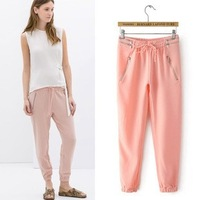 2014 New arrivals Ladies' elegant bow tie pants cozy loose trousers elastic waist pocket pencil pants casual slim brand design