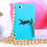 2014 Brand Name Fashion France Famous  Case For iPhone 5 5s 4 4s Silicon Case Soft Back Cover Luxury Hand Bag 5s Skin Protective