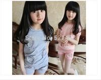 Girls summer 2014 new big virgin leisure short sleeved T-shirt + pants Korean children sets