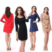 2014 Sugar Color Medium Length  Fashion Casual Hot Sale Stylish Solid Square-Neck Long Sleeve Waisted Dress ZE3075#M4