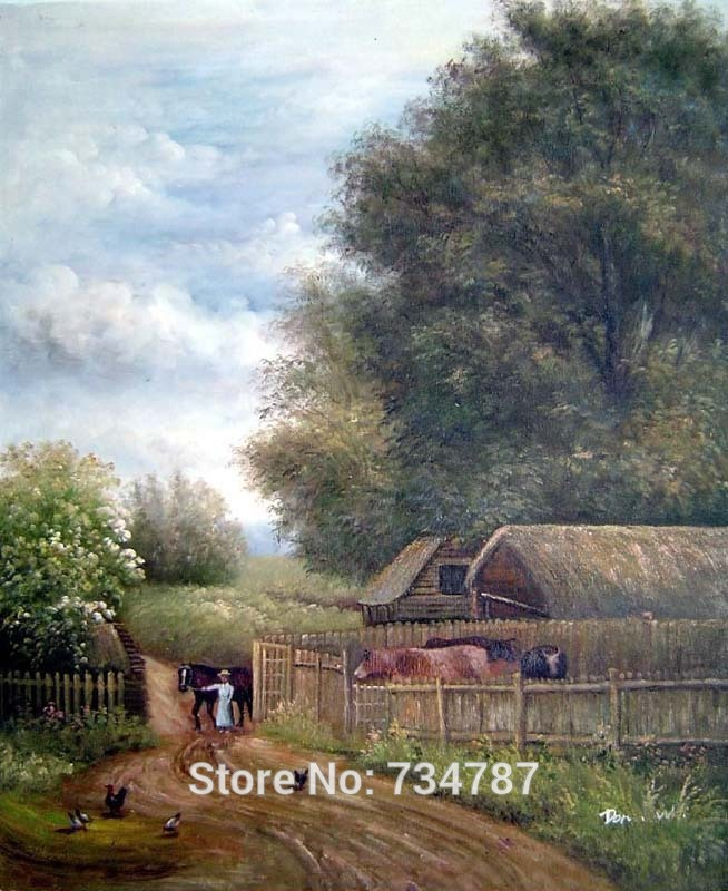 Wall Art Painting in Canvas Hand Painted Oil Picture Farm House Rural Area Home Rustic Wall Decoration Paintings(China (Mainland))