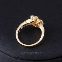 Fashion Luxury 18K Gold Plated Round Women's Rhinestone Crystal Winding Ring Prong Setting Wedding Engagement Rings 25J MZ148