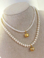 925 Silver paternity suit models natural freshwater pearl necklace gold  KT cat pendants Children necklace