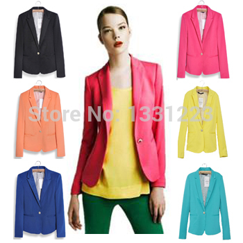 NEW 2014 european candy color one button blazer women jacket women coat women blazer suit foldable jackets women clothes suit(China (Mainland))