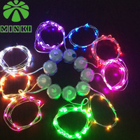 Coin battery powered Minki 10pcs 1.5M 15leds submersible mini wired light strings for wedding many color available