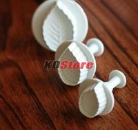 30set/lot Free Shipping 3 pcs/set Rose Leaf Plunger Cutter Mold Fondant Cake Decorating Kitchen Tool (BK029) @CF