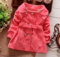 Girls Coat Spring 2014 fashion new style cardigan Cotton coats baby beautiful lace jacket children clothing