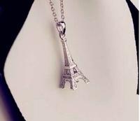 925 silver short necklace romantic Eiffel Tower pendant necklace