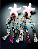 Min order is $10(mix order)Thai style earrings starfish family name long section of water drop crystal rhinestone earrings EH564