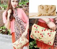 embroidery Fruit straw knitted flower floral flap handbag clutch shoulder bag