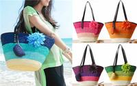 Boho bohemia summer beach handmade straw hobo women stripe shoulder bag handbag