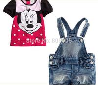 Retail Children girl Clothing Summer girls short sleeves cartoon  tops top t shirt shirts + jeans pants for kids 2 pces set XZQ