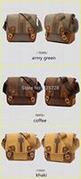 new 2014 Men's Canvas Genuine Leather Satchel Leisure Shoulder Bag Men Vintage Travel  Messenger Bags