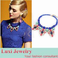 Luxury Stone Rhinestone Flower Short Necklace European Brand Jewelry Chock Necklace&Pendant  Statement Jewelry for Women