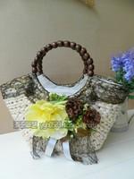 2014 new handbags fashion personality woven rattan straw beach bag hand shoulder bag Korean version