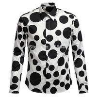 2014 men's clothing big dot polka dot shirt long-sleeve slim male print shirt 100% cotton shirt