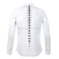 Gvc 2014 summer male fashion long-sleeve shirt slim casual shirt print business