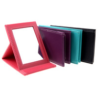Fashion Portable Foldable Leather Mirror Women Beauty Cosmetic Mirror Make up Mirror